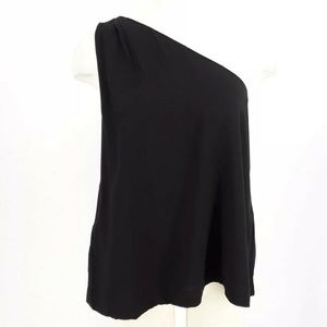 Ann Taylor LOFT Top M Pet Black One Shoulder New